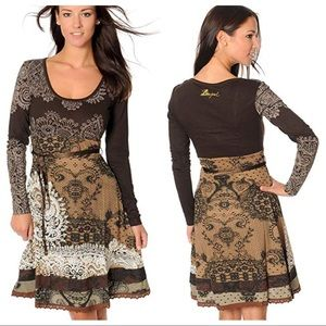 Desigual Paisley Long Sleeve Scoop Neck Dress L